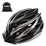 KINGBIKE Adult Bike Helmet Ultralight Bicycle Helmets Portable Bag Safety Rear Led Light Visor Men Women Road Cycling Biking (Black&Titanium, L/XL(59-63CM))