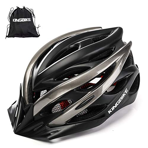 KINGBIKE Adult Bike Helmet Ultralight with Bicycle Helmets Portable Bag and Safety Rear Led Light Visor for Men Women Cycling Biking Cyling