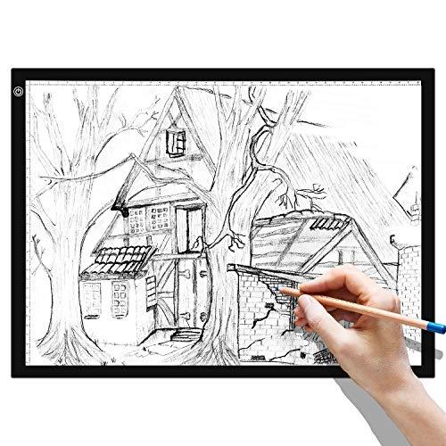 BATHWA A3 LED Pad Luminoso Pannello Luminoso da Tavolo LED A3 Blocco da Disegno luminosità dimmerabile con Cavo USB per Pittura, Disegno, Disegno Animato