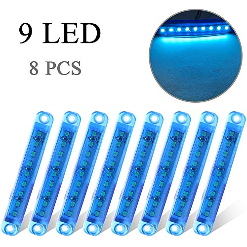 8 x Blu Luce Laterale 9 LED 12-24V Luci di Posizione Indicatore Universale per Camion Camper Auto Caravan 3,9' Impermeabile