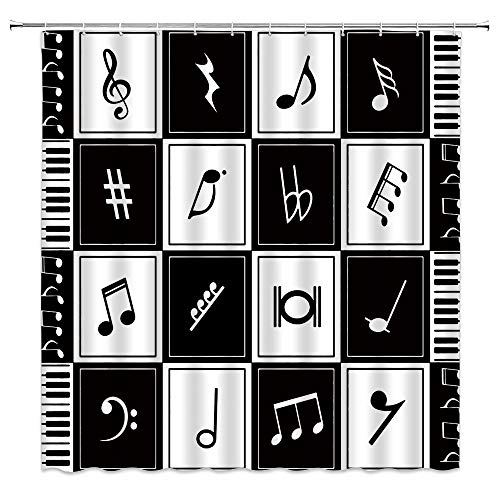 Music Note Shower Curtain Black White Creative Art Splice Patchwork Piano Key Modern Elegant Abstract Musical Notes Classic Music Hobbyist Decor Fabric Bathroom Curtain Set 70x70 Inch with Hooks