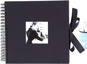 SANGHAI Álbum de scrapbook, coleção de fotos preta de 25,4 cm, com abertura de foto e nó de presente, 40 páginas de artesa...