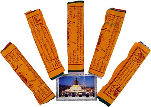 Guru-Shop Gebetsfahnen (Tibet) 5 Stück Sparpack Gebetsfahnen in Verschiedenen Längen -10 Wimpeln/Baumwolle, Länge: 2,00 m Lang (Wimpel 16x16 Cm), Gebetsfahnen