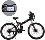 MJY Bicicletas de montaña eléctricas, batería de litio extraíble de 24 pulgadas Bicicleta de montaña eléctrica plegable con bolsa colgante Tres modos de conducción Adecuado 6-20,UNA,18ah / 864Wh