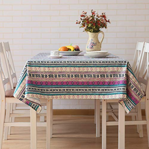 YOUYUANF tablecloth wipeWashable cotton linen tablecloth, rectangular table cover, very suitable for self-service decoration of kitchen tables and tables140x140cm