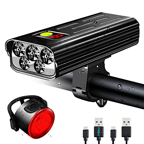VASTFIRE Bike Light Set, 5200 mAh USB Rechargeable Bicycle Lights, 1600 Lumens Front Headlight and Back Taillight Fits All Bicycles, Mountain, Road