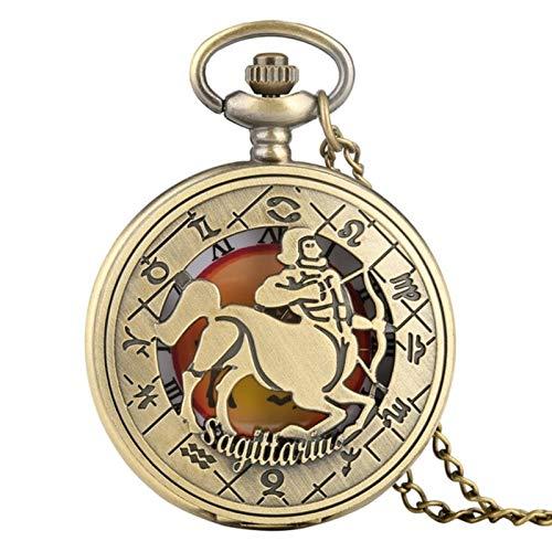 ZMKW Reloj de Bolsillo con diseño del Zodiaco, Collar Moderno, Cadena de Cobre, Doce Constelaciones, Colgante, Reloj de cumpleaños, Regalos, Sagitario