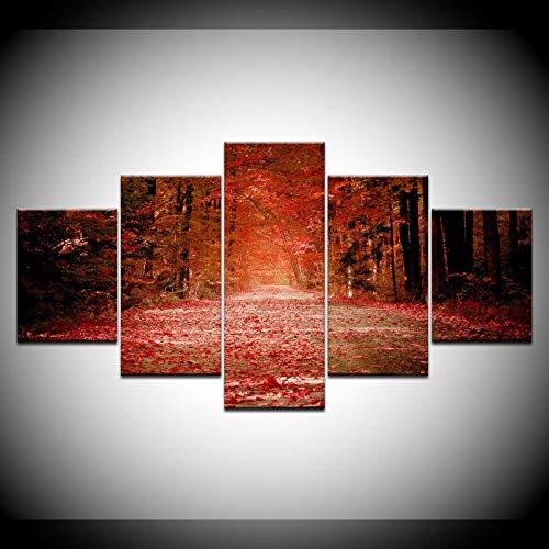 DAIZHJ Herfst rood gevallen bladeren bos poster 5 stuks canvas behang poster modulaire kunst schilderij woonkamer huisdecoratie