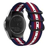 MoKo Bracelet Compatible avec Garmin Vivoactive 3/Galaxy Watch Active/Active 2/Galaxy Watch 42mm/Gear S2 Classic/Ticwatch E, 20mm Bracelet en Nylon Tissé Bracelet de Remplacement,Bleu&Rouge&Beige