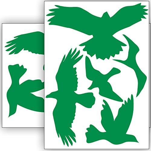 Vogelschutz und Fensterschutz - 10 Aufkleber - Schutz vor Vogelschlag - Sticker Vögel (Grün)