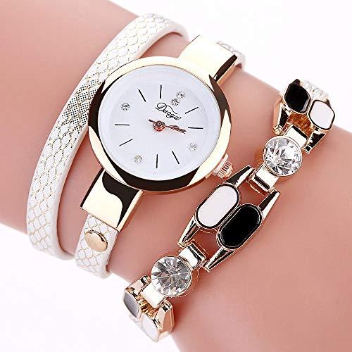 Powzz - Reloj de pulsera para mujer, estilo vintage, sexy, piel sintética, color blanco