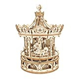 ROKR 3D Wooden Puzzle Carousel Model Building Kits Rotating 5-Horses Music Box Christmas Birthday Gift for Kids Girls Daughter Wife Girlfriend