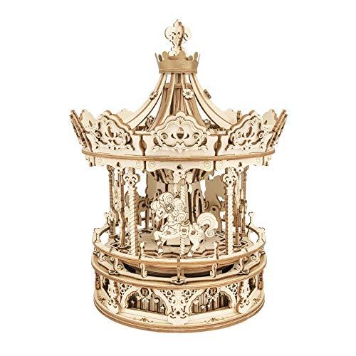 ROKR 3D Wooden Puzzle Carousel Model Building Kits Rotating 5-Horses Music Box Christmas Birthday...