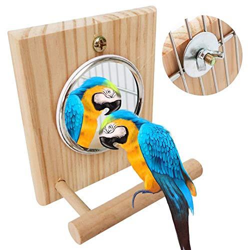 yummyfood Vogel Spiegel Spielzeug Vogelkäfig Sitzstangen Vogel Landeplatz Für Papageien, Conures, Lovebirds, Kolibri, Sittich Und Fink