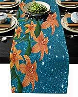テーブルランナー 優美 植物 花柄 星空 手描き イラスト テーブルクロス お食事マット プレースマット おしゃれ インテリア 食卓飾り 滑り止め 欧風 無地 おもてなし パーティー ホームデコレーション 41x183cm