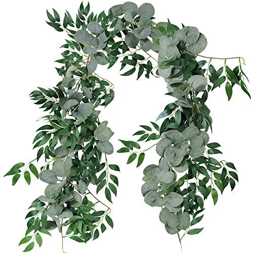 Supla 2 Separate 5.9' L/Pcs Faux Silver Dollar Eucalyptus and Willow Vines Twigs Leaves Garland String Wedding Arch Swag Backdrop Garland Doorways Greenery Garland Table Runner Garland Indoor Outdoor