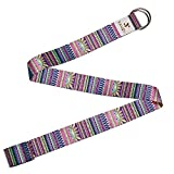 Yansyi Yoga Strap (8ft), Eco-Printed Durable Premium Fabric Exercise Straps w/Adjustable D-Ring Buckle for Stretching, General Fitness, Flexibility and Physical Therapy - Indian