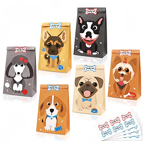 24 Pack Puppy Goodie Candy Treat Bags Dog Kids Birthday Pet Adoption Party Favor Ideas Supplies with Bone Thank You Stickers