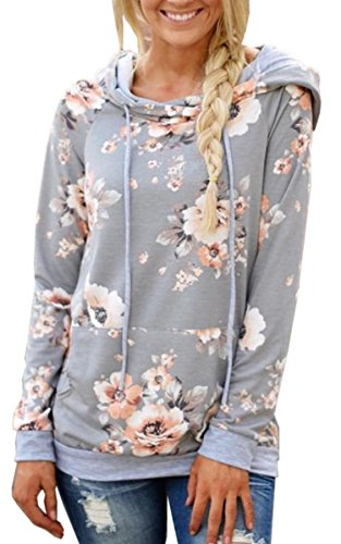 Angashion Women Hoodies-Tops- Floral Printed Long Sleeve Pocket Drawstring Sweatshirt with Pocket Light Grey