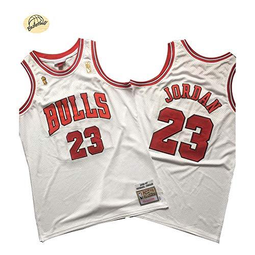 Camiseta de Baloncesto Michael Jordan Chicago Bulls, Camiseta Retro Bordado clásico n. ° 23 para Hombres, Sudadera Juvenil Transpirable de Secado rápido para Exteriores (S-2XL)-White-S