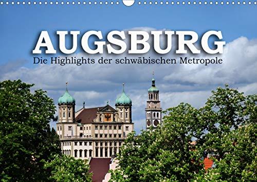 Augsburg – Die Highlights der schwäbischen Metropole (Wandkalender 2021 DIN A3 quer)
