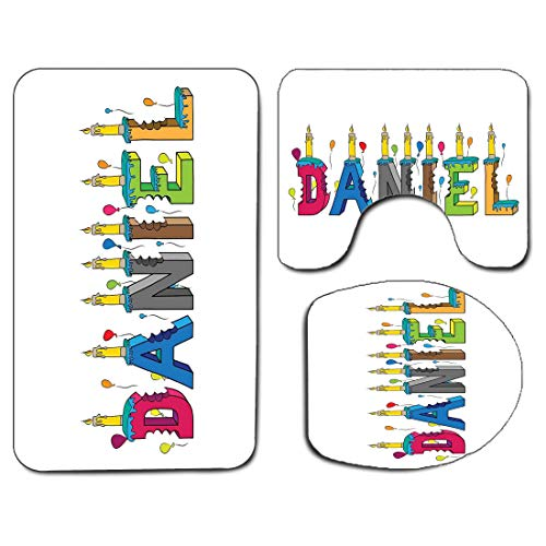 3Pcs Non-Slip Bathroom Rug Toilet Seat Lid Cover Set Daniel Soft Skidproof Bath Mat Grooving Cheerful Male Name with Happy Occasion Birthday Theme Bite Marked Cake,Multicolor Absorbent Doormat Bedroom