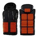 iMixCity Chaleco con capucha calefactable unisex, chaleco calefactor eléctrico con carga USB Chaleco térmico cálido recargable ligero para hombres mujeres 9 zonas de calentamiento (6XL, Negro)