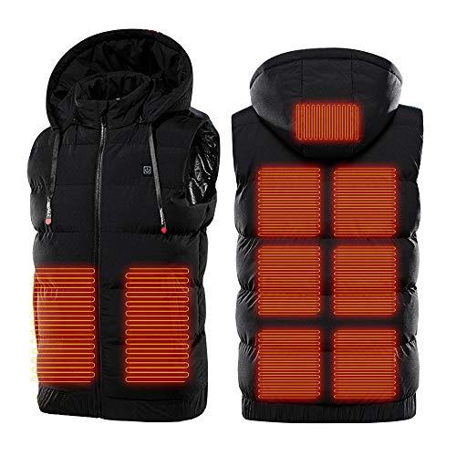 Unisex Elettrico Riscaldato Gilet Regolabile USB Ricarica Riscaldamento Abbigliamento Caldo Senza Maniche Gilet Cappotto Con Cappuccio Rimovibile Nero 5xL