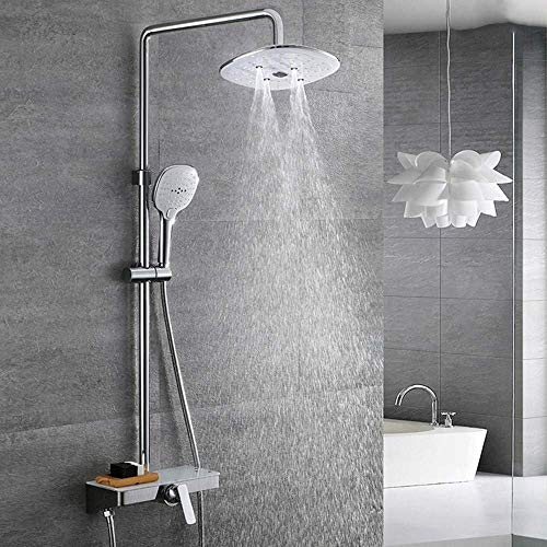 Ccgdgft doucheset, doucheset, douchesysteem, 24 x 24 cm, douchekop met instelbare douchestang, douchecolom, handdouche boven douche voor badkamer