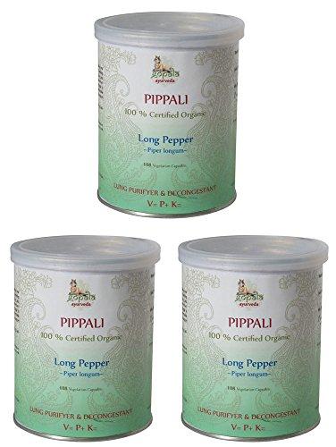 Pippali Bio (108 Veg Kapseln - 3er pack) - 500mg je Kapsel - 100% Bio-zertifiziertes pflanzliches Nahrungsergänzungsmittel der Lacon GmbH