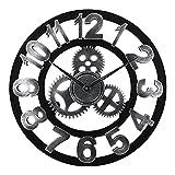 Lafocuse Reloj de Pared 45 cm Silencioso Industrial Steampunk Grande Engranaje Vintage Números Arabes Madera Plateado Reloj Cuarzo para Bar Salon