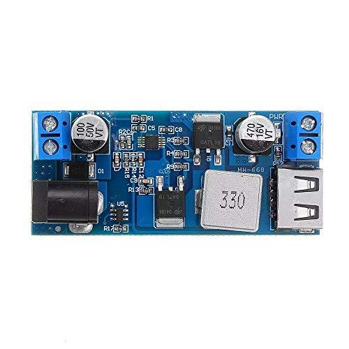 SPRINGHUA Módulo de Alta Eficiencia de entrada de alimentación del módulo LM2596S DC-DC 24V / 12V a 5V 5A 5pcs bajada Fuente de alimentación Buck convertidor USB ajustable de paso bajo de carga del mó