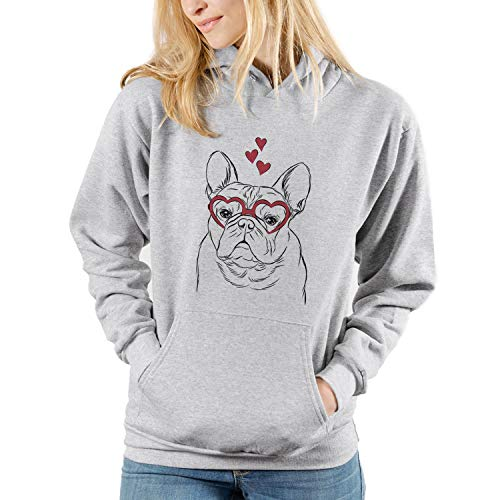 Inkopious Valentine Fudge The French Bulldog Dog Unisex Pullover Hoodie Sweatshirt Medium Grey