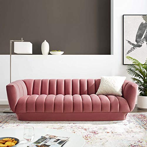 Modway Entertain Vertical Channel Tufted Performance Velvet Sofa Couch in Dusty Rose