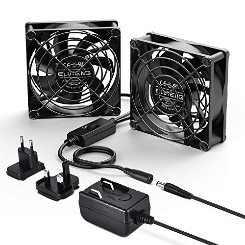 ELUTENG 80mm Fans 12V 1A, Dual PC Fan DC Powered Quiet Desk Fan 2 In 1 Cooling Fan with Speed Controler & Black Metal Grill for Receiver DVR Computer PC PS4 XboxTV Box Laptop AV Cabinet