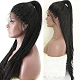 PlatinumHair Black Color Braids Handmade Collection Synthetic Lace Front Braided Wigs for Black Women 24-26 by PlatinumHair