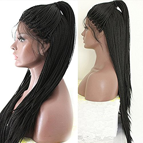 """PlatinumHair long black braids with baby hair synthetic lace front wigs heat resistant synthetic wigs 24"""""""