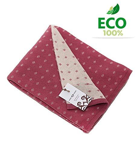 Zweiseitige sehr weiche gestrickte Babydecke aus ECO Merino Schurwolle und Baumwolle. Antiallergische und ökologische Strickdecke 80 x 100 cm (Rosa/Ecru)