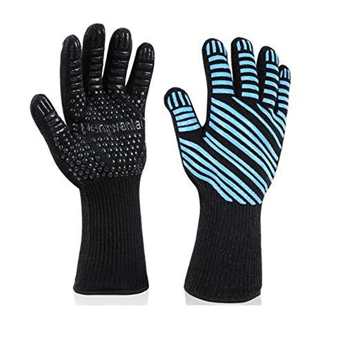 GTEFWZ Barbecue Handschuhe Silikon rutschfeste Ofenhandschuhe zum Grillen, Kochen, Backen, Schweißen hitzebeständige Handschuhe zum Kochen