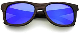 LUKEEXIN Vintage Handmade Wood Sunglasses Colored Lens UV400 Protection for Unisex-Adult (Color : Blue)