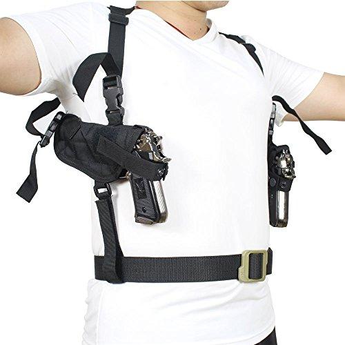 Táctica universal doble pistolera de hombro Dibuje oculta todos los días Realizar doble pistolera de la bolsa completamente ajustable Ambidiestro Bajo el brazo horizontal de la arma de mano Carrier