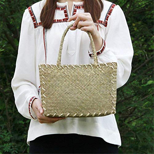 Eeayyygch Handtasche Die Stroh Tasche koreanische Version der Frauen Matten gewebt Tuch Retro Art Paket Umhängetasche Rattan Tisch Strand Paket (Farbe : BC02yuan)