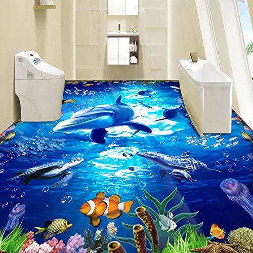 PVC Autoadhesivo Impermeable Desgaste Antideslizante 3D Azulejos de suelo Etiqueta de papel de pared HD Submarine World Dolphin Flooring Wallpaper Mural-300 * 210cm