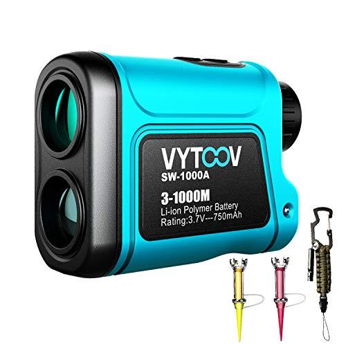 VYTOOV Laser-Entfernungsmesser, 6 x wiederaufladbare Golf-Entfernungsmesser, 1094 Yards, USB-Ladeunterstützung, Flaggenmast-Verriegelung, kontinuierliches Scan mit Golf-Tee und Notfall-Paracord-Set