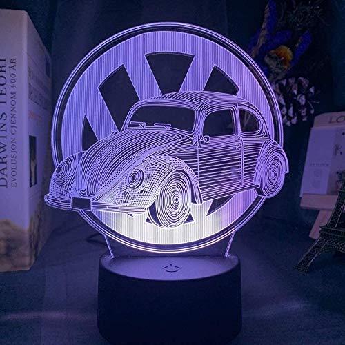 3D ilusión lámpara escarabajo coche niños dormitorio decoración nocturna cena ambiente colorido niño cumpleaños regalo supercar luz luz noche luz-16 color con control remoto