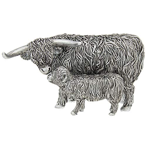 Shudehill Giftware Small Silver Highland Cow and Calf Ornament