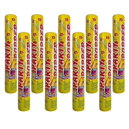 Lot de 4 canons à confettis - 30 cm - Doré - 5 m de hauteur - Pour Nouvel An, anniversaire, fêtes privées, confettis