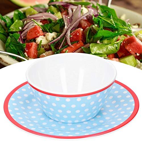 Snufeve6 Plato, Plato de Ensalada, Azul Claro con Lunares para hogar Restaurante