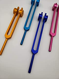 AMOZO Solfeggio Weighted Color Tuning Forks Set of 9 with Bag and Striker