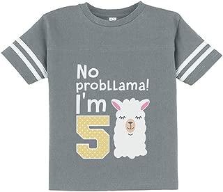 5 Year Old Girl Birthday Gift No Probllama Toddler Jersey T-Shirt